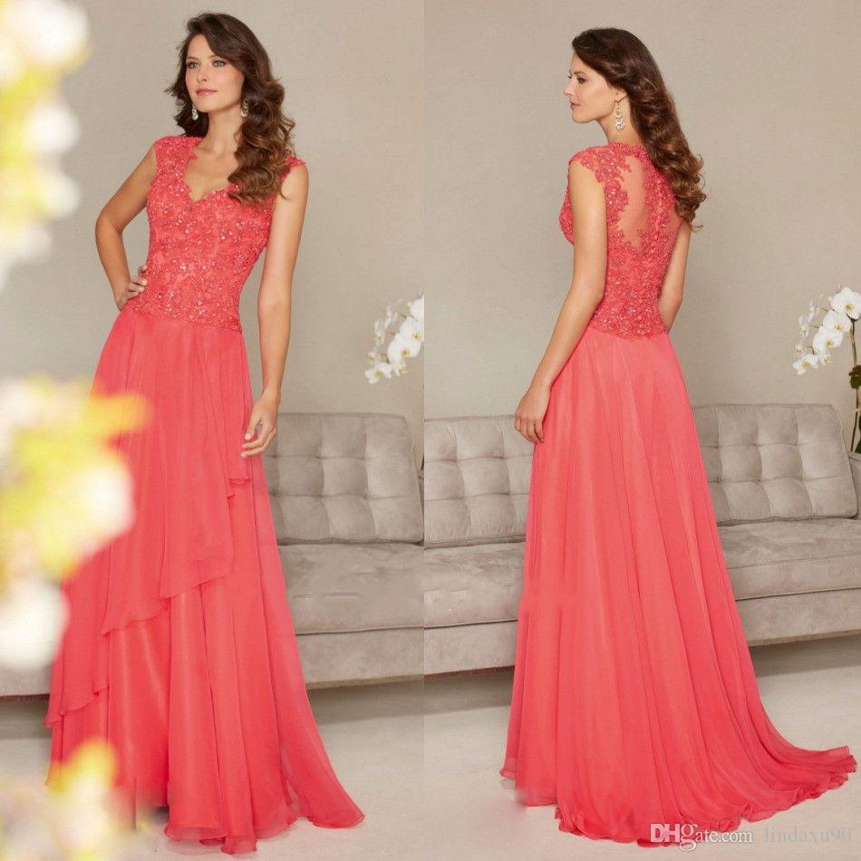 Coral V Neck Mother Of The Bride Dresses Sequins Lace Applique Full Length A Line Wedding Guest Dress