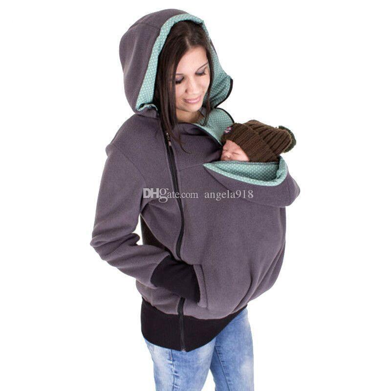 متعددة الوظائف الكنغر هوديس الطفل الناقل سترة عارضة الشتاء سستة معطف لل pregant النساء سميكة هوديس 6 ألوان C1628