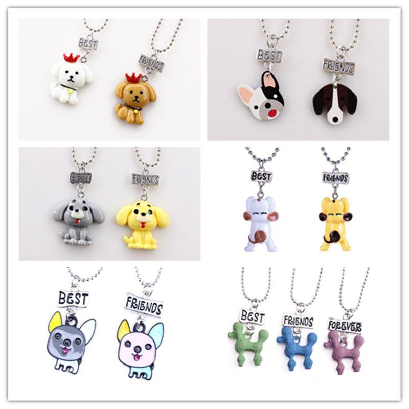 Мультфильм собака ожерелье лучшие друзья собака подвески мода ювелирные изделия для детей Дружба ювелирные изделия подарок