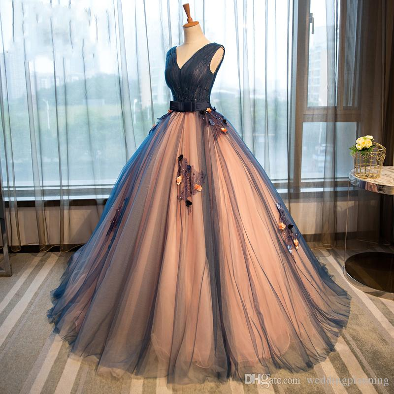 Real Image Beautiful Prom Dresses Two Toned Floor Length Formal