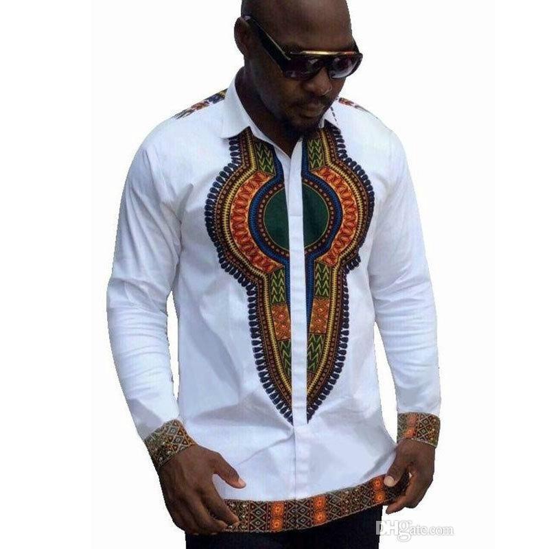 Moda verão Roupas Africanas para Os Homens Se Vestem Camisa Dos Homens Marca de Roupas de Manga Comprida Camisa Branca Homens Plus Size M-2XL