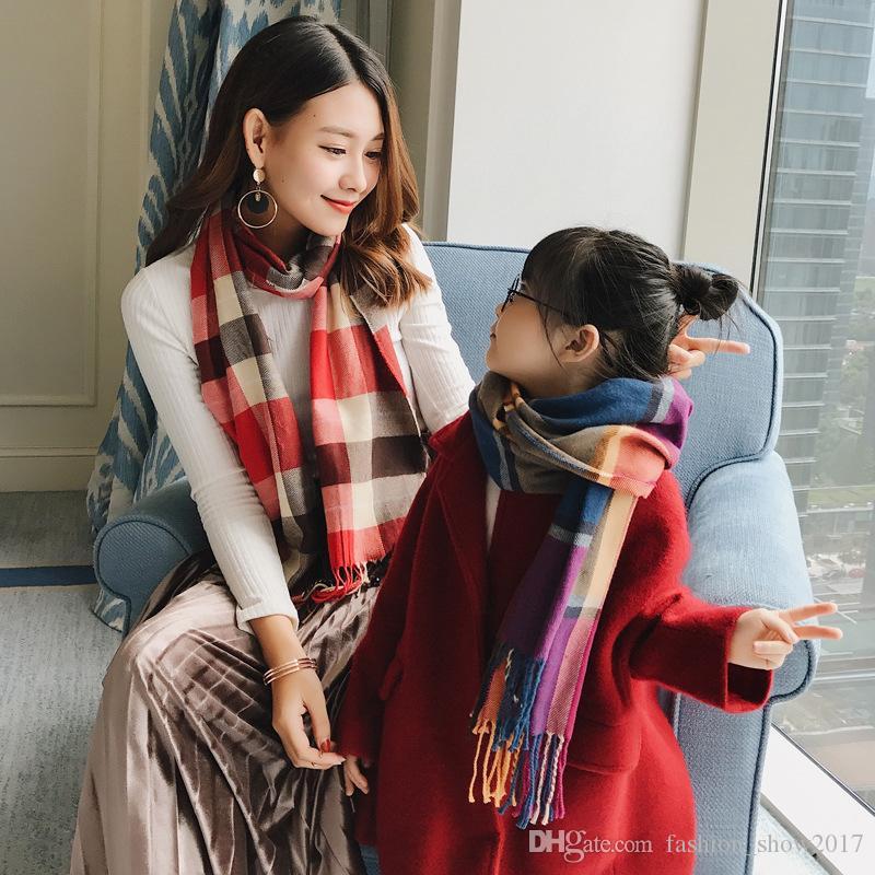 Nuovo Autunno Inverno come il cashmere per bambini della grata della sciarpa delle ragazze dei neonati caldo cotone sciarpa scialle sciarpe per bambini