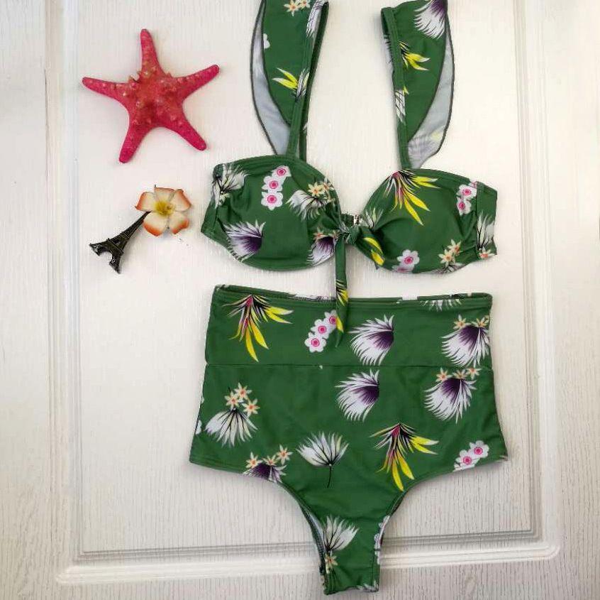 Cintura alta Biquíni Mulheres Swimsuit Frutas Imprimir Bikini Set Acolchoado Swimwear Bow-nó Maiô 2018 Beach Wear Bodysuit