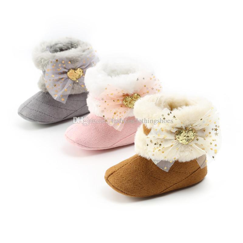 3 Farben Baby Mädchen Prinzessin Spitze Bogen Schnee Stiefel rosa braun grau Pailletten liebevolle Herz decro Bogen einfarbig Prinzessin Winter warme Schuhe
