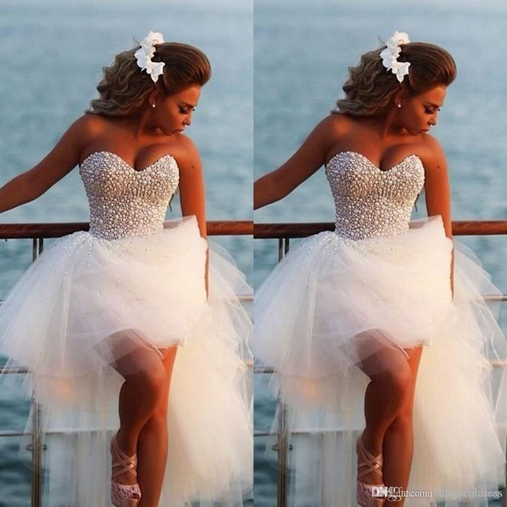 Vestidos de novia de playa encantadores 2019 cariño perlas llenas Diamantes altos Bajos de tul vestidos de novia bohemio más tamaño vestido de novia