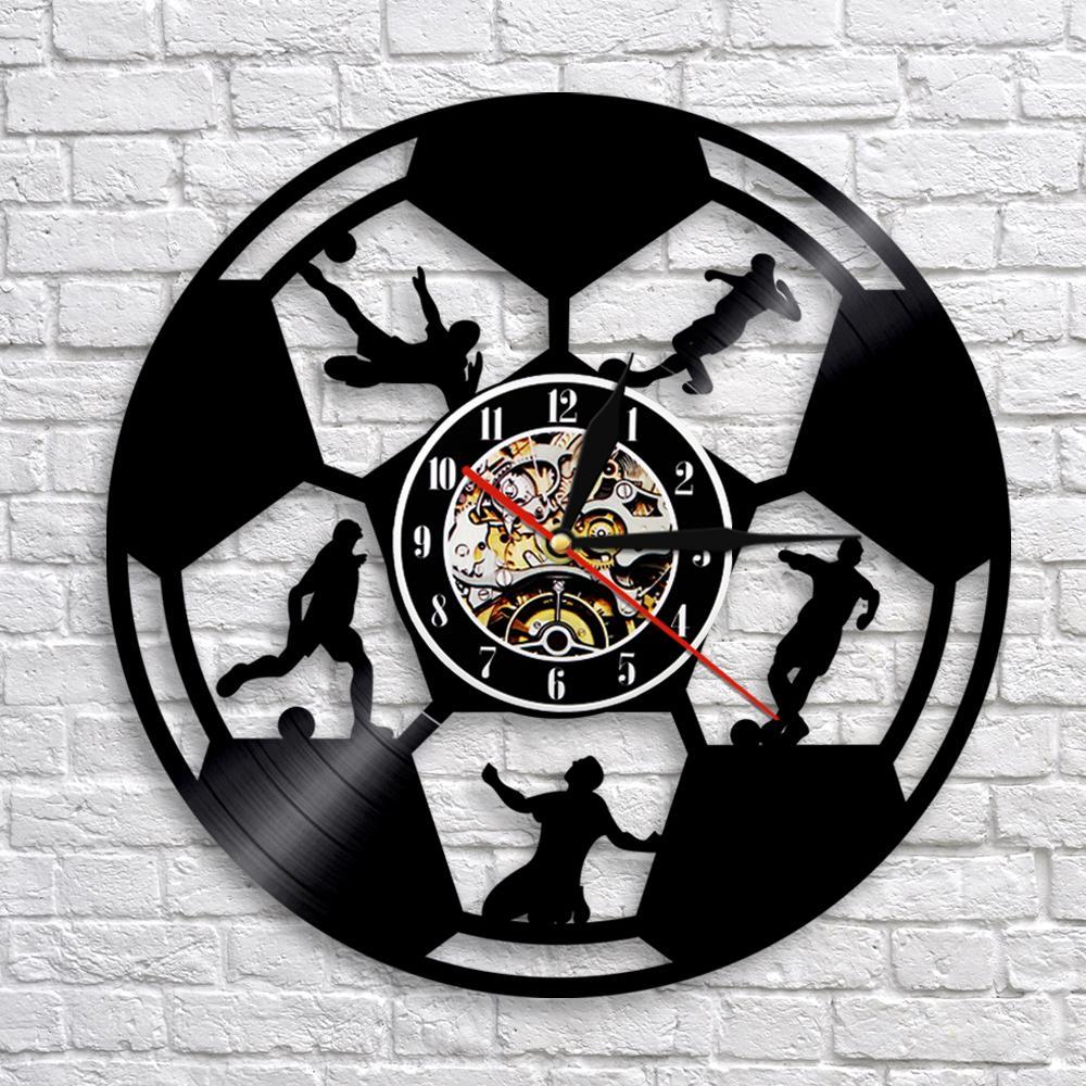 1Piece Soccer Clock Record Wall Clock Modern Design Football Sprot Theme Wall Art Decor Housewarming Gift For Soccer Fans