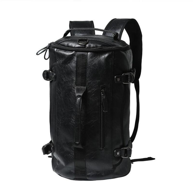 """Mochila Homens 14"""" Laptop Couro Bolsa Escola PU Leather Travel Bag pacote ocasional Basketball Mochila"""