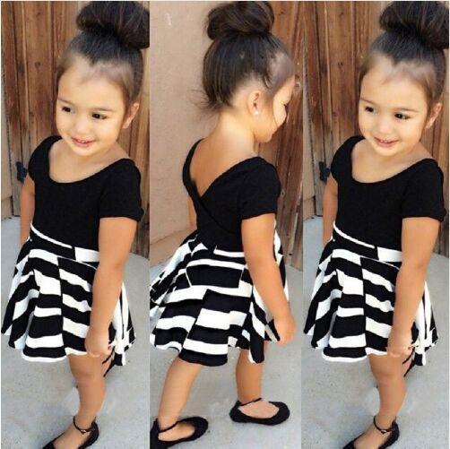 European new girls summer suits cotton girl clothing set black T-shirt + pleated striped skirt set for children DQ0214