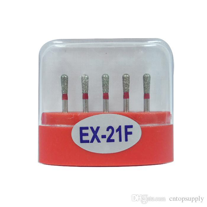 1 paquete (5 piezas) EX-21F Dental Diamond Burs Medium FG 1.6M para pieza de mano de alta velocidad dental Muchos modelos disponibles
