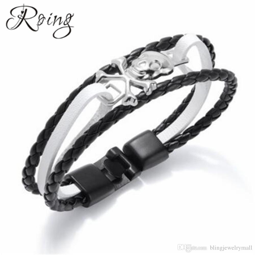 Roing Punk Men Black Leather Bracelets Handmade Gothic Skull Cuff Bangle Skeleton Charm Buckle Bangles Male Jewelry RO1304