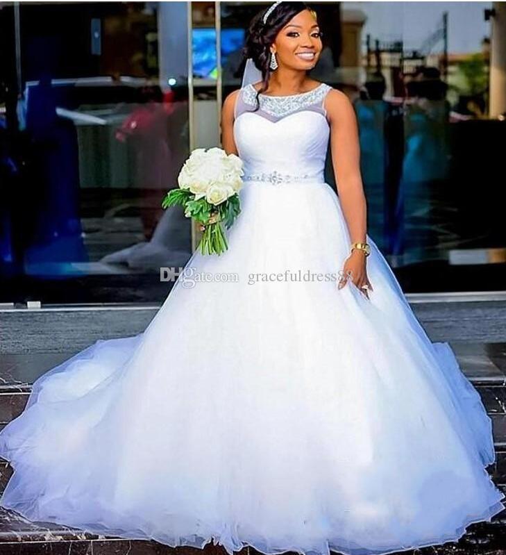 Abiti da sposa economici taglie forti con collo gioiello collo perline argento sash puffy a line abito da sposa africano vestido de noiva abiti da sposa