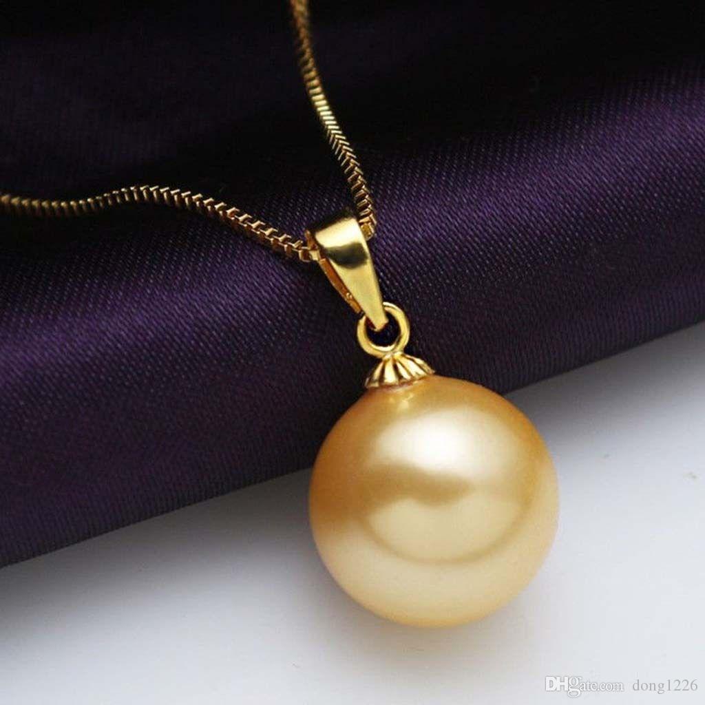 Mode 16 MM Natürliche Gelbe Akoya Shell Perle Vergoldet Anhänger Halskette 17 ''