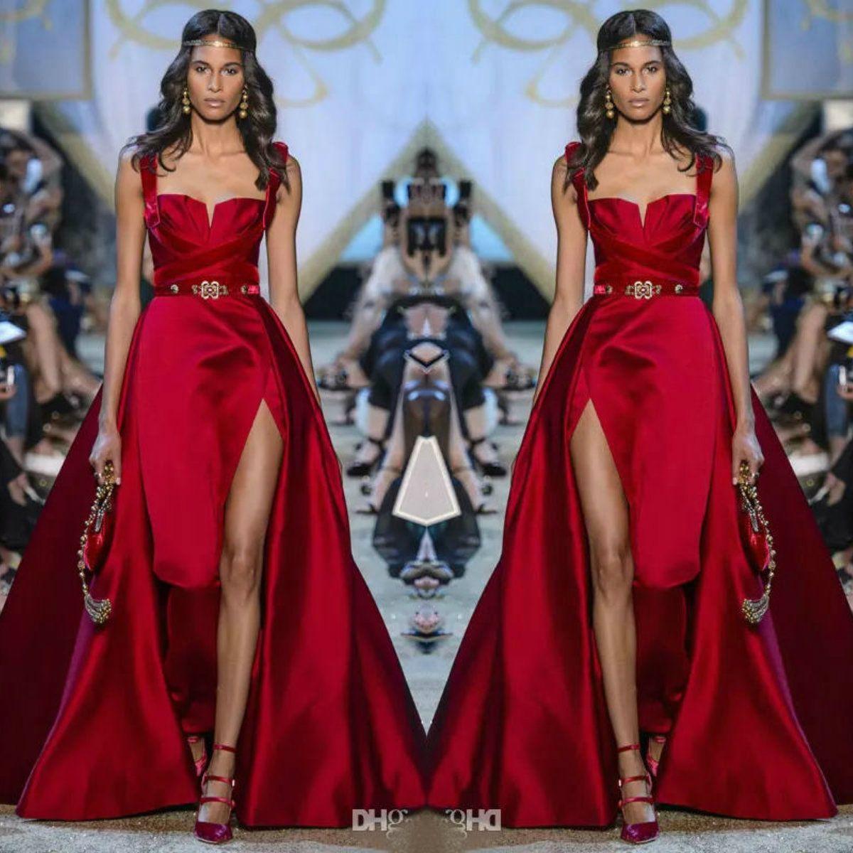 großhandel elie saab rote ballkleider liebste side split abendkleider mit  abnehmbarem schleppe maßgeschneiderte satin abendkleider von huifangzou,