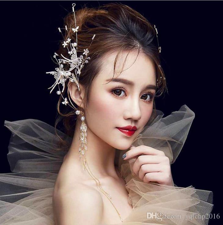 Новая невеста свадьба корона орнамент птица птица Алмаз дрель вешалка аксессуары корейский свадьба фото аксессуары