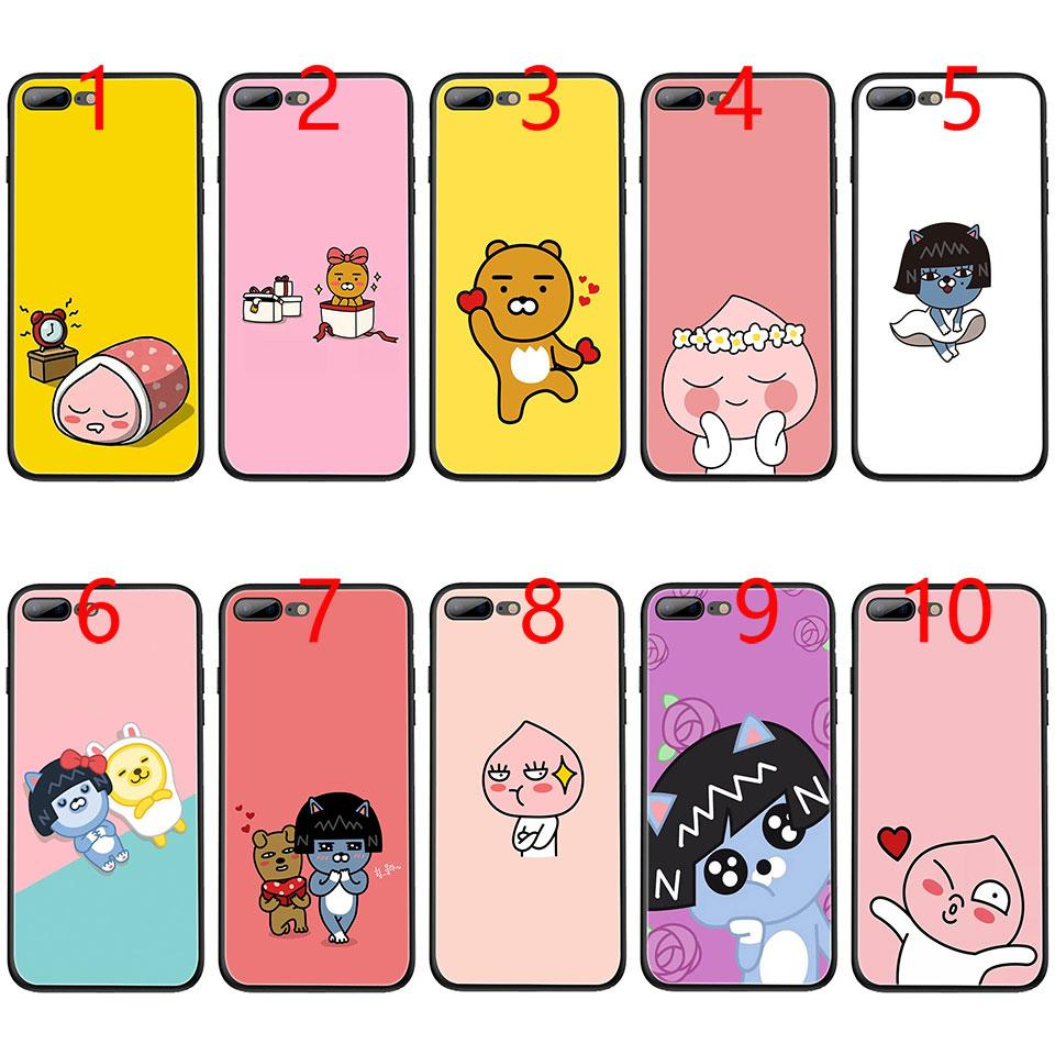 factory authentic b37d6 85489 Korean Cartoon Cocoa Apeach Kakao Friends Soft Black TPU Phone Case For  IPhone XS Max XR 6 6s 7 8 Plus 5 5s SE Cover Cell Phone Cover Cell Phone ...