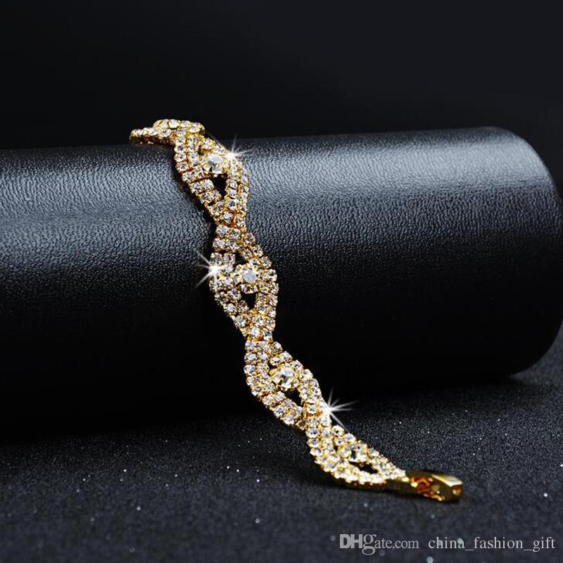 Gold Kristall Armbänder Für Hochzeit Braut Mode Neueste 18 Karat Armbänder Für Damen Strass Armbänder Valentinstag Schmuck Zubehör