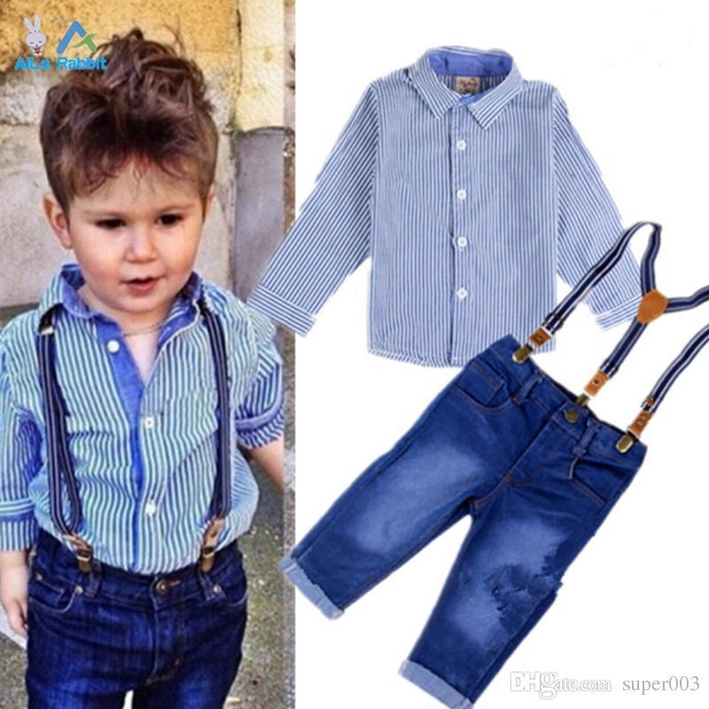 2018 ملابس الأولاد البدلة شهم الخريف بأكمام طويلة قميص مقلم + حزام الجينز 2 قطعة / المجموعة الطفل أطفال الأطفال دعوى السراويل الجينز