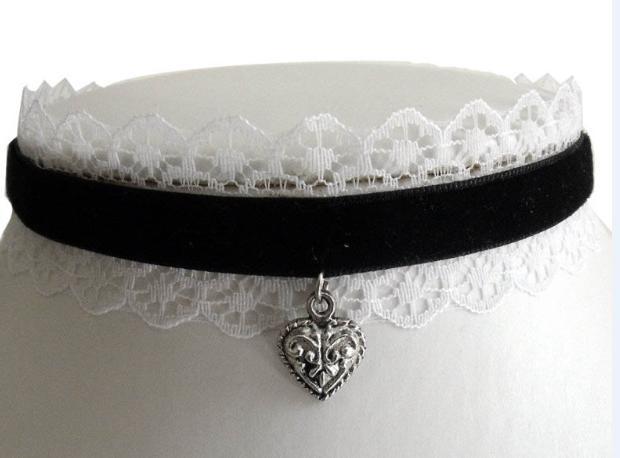 12pcs / lot nero cuore choker gotico bianco collana collare di pizzo velluto lolita vittoriano francese cameriera