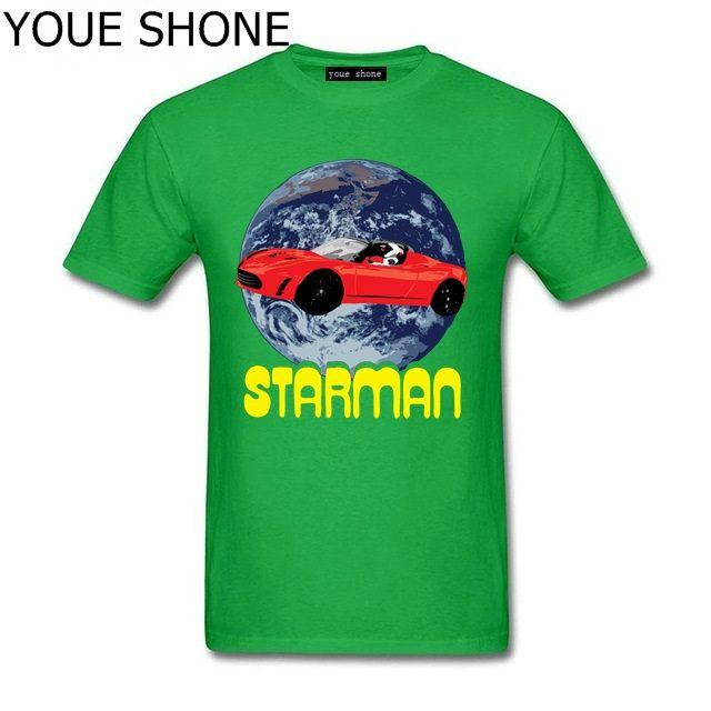 StarmanX T shirt homens Elon Musk SpaceX para Marte t-shirt do carro do starman astronauta pesado falcão foguete tshirt homme Tesla roadster Tees algodão