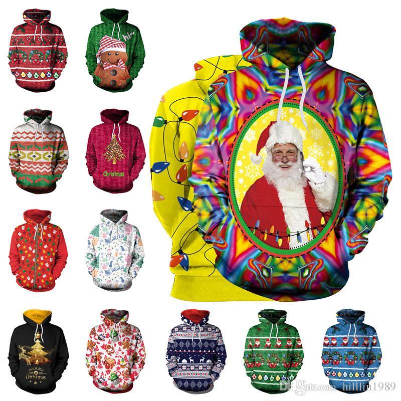 13 Cores das Mulheres Hoodies de Natal Papai Noel 3D Imprimir Camisolas Xmas Camisolas Moda Casais Sportswear com Chapéu