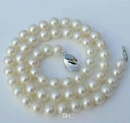 Благородный 9-10 мм природных Южных морей белый жемчуг ожерелье 18 дюймов 925 серебряная застежка
