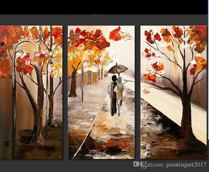 Natural Scenery oil painting Handmade on Canvas Autumn Tree Landscape Paintings Acrylic Wallpaper Scene Home Decor Wall Art