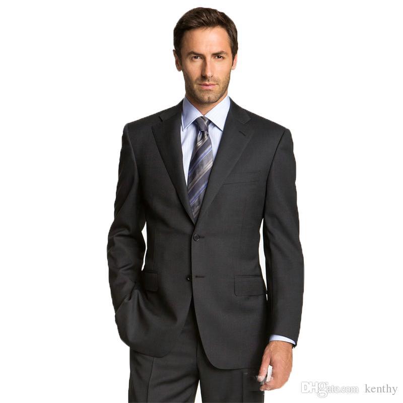 Handsome 2018 Men Suits Black Custom Made Wedding Suits Bridegroom Groom Slim Fit Formal Business Tuxedo 2Piece Blazer Prom Best Man Party