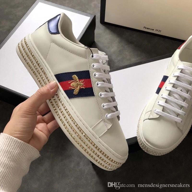 2018 Véritable cuir casual chaussures unisexe Fshion broderie Bees sneakers Pour plus de style s'il vous plaît contactez-nous modèle Bees taille 35-45 avec boîte