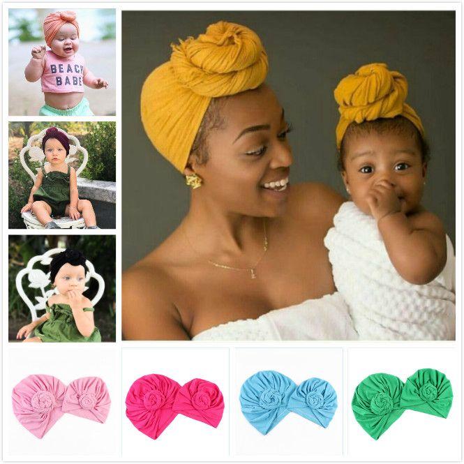 엄마와 나와 어울리는 의류 인도 Headscarf Hat Turban 매듭 머리 랩 모자 모자 유아 겨울 Beanie 6 색 어머니 딸