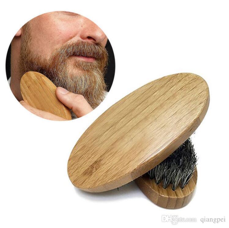 Recién llegado para hombre Jabalí Cerdas del pelo Duro Redondo Mango de madera Barba Bigote cepillo cepillo conjunto