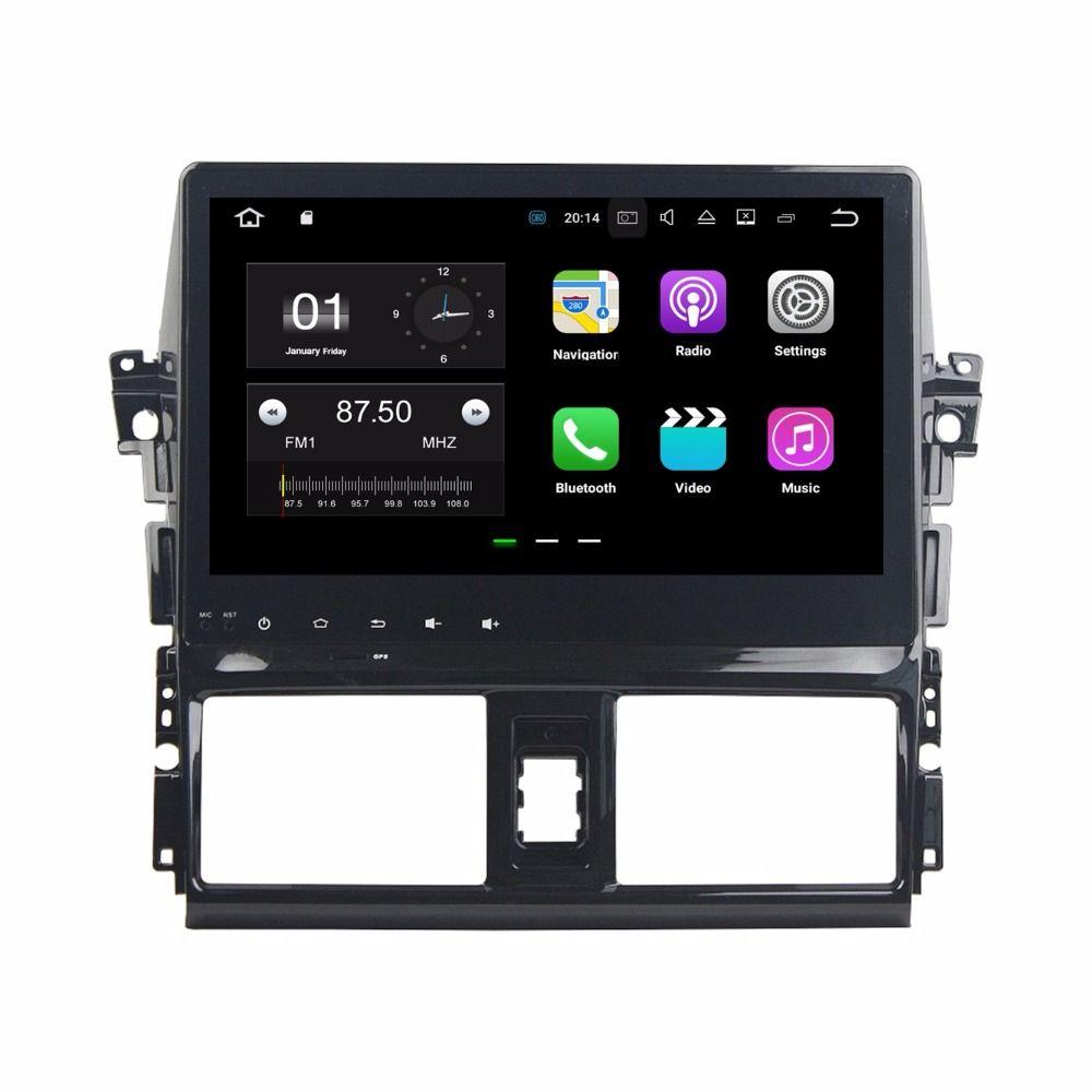 """كواد كور 10.1 """"أندرويد 7.1 سيارة راديو سيارة دي في دي لاعب لتويوتا ياريس فيوس 2013-2015 مع 2GB RAM راديو GPS WIFI بلوتوث USB 16GB ROM"""