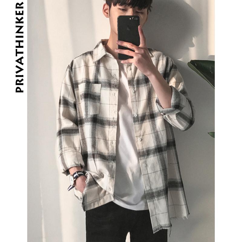 HongMong Spring and Summer Mens Plaid Casual Trend Long-Sleeved Shirt Shirt