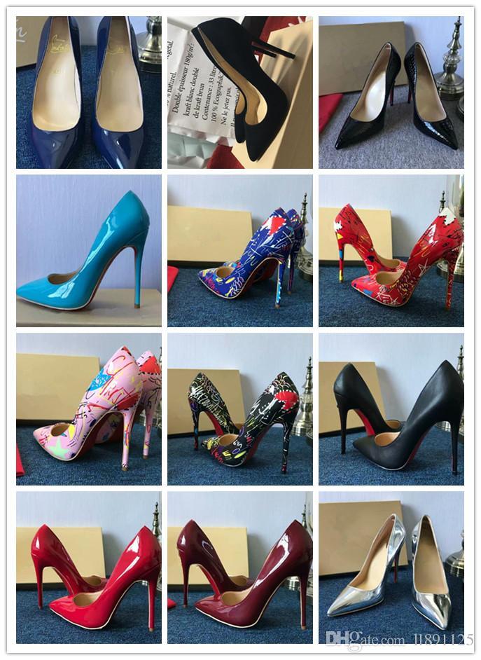 무료 배송 그래서 케이트 스타일 플랫 8cm 10cm 12cm 하이힐 신발 레드 하단 누드 컬러 정품 가죽 포인트 투 펌프 고무 customi 수 있습니다
