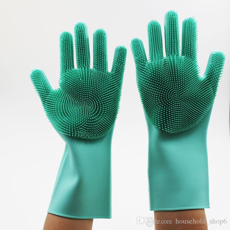 Dishwashing Gloves for Washing Dishes Magic Silicone Cleaning Gloves With Brush
