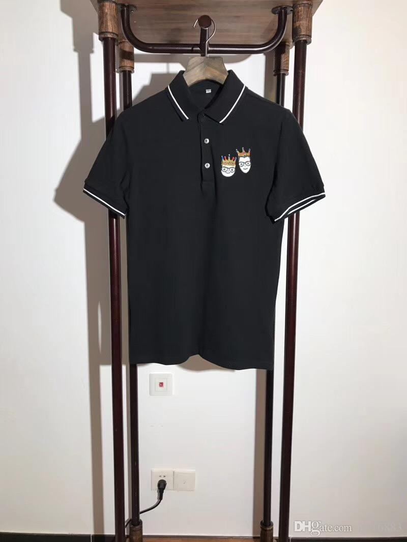 New Fashion Men Embroidered Polo Shirt Casual Short Sleeve Solid Cotton T Shirt