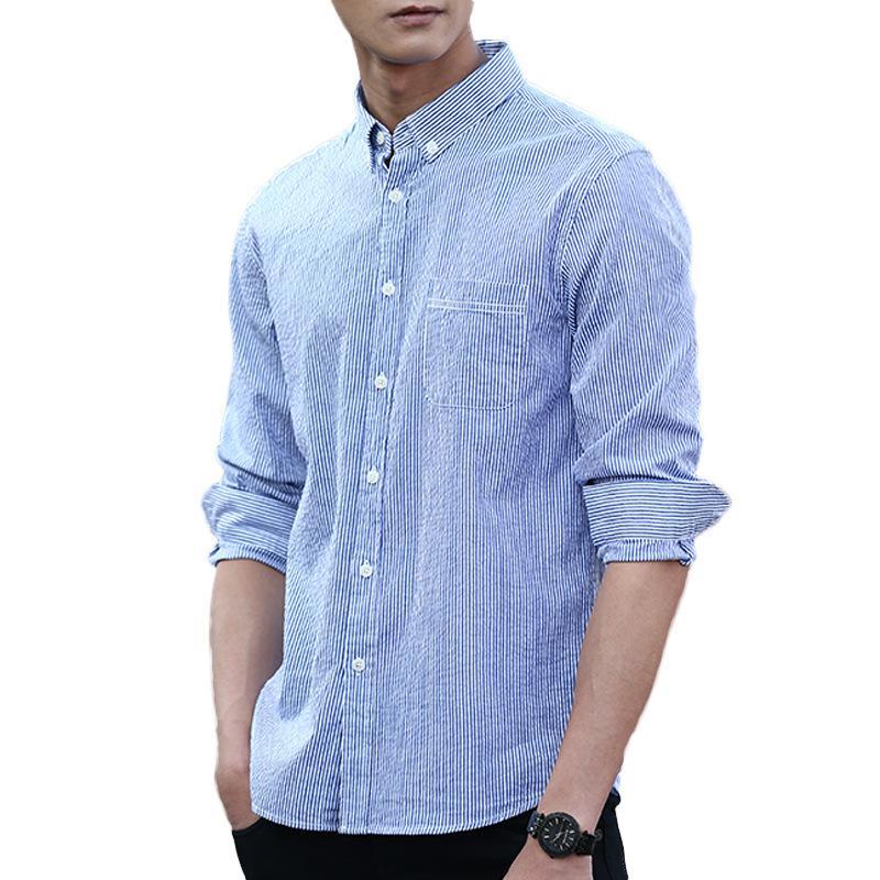 Buena calidad de Striepd antiarrugas Shirts Hombres camisa casual con botones de manga larga delgada ocasional del ajuste Hombre Camisa Masculina