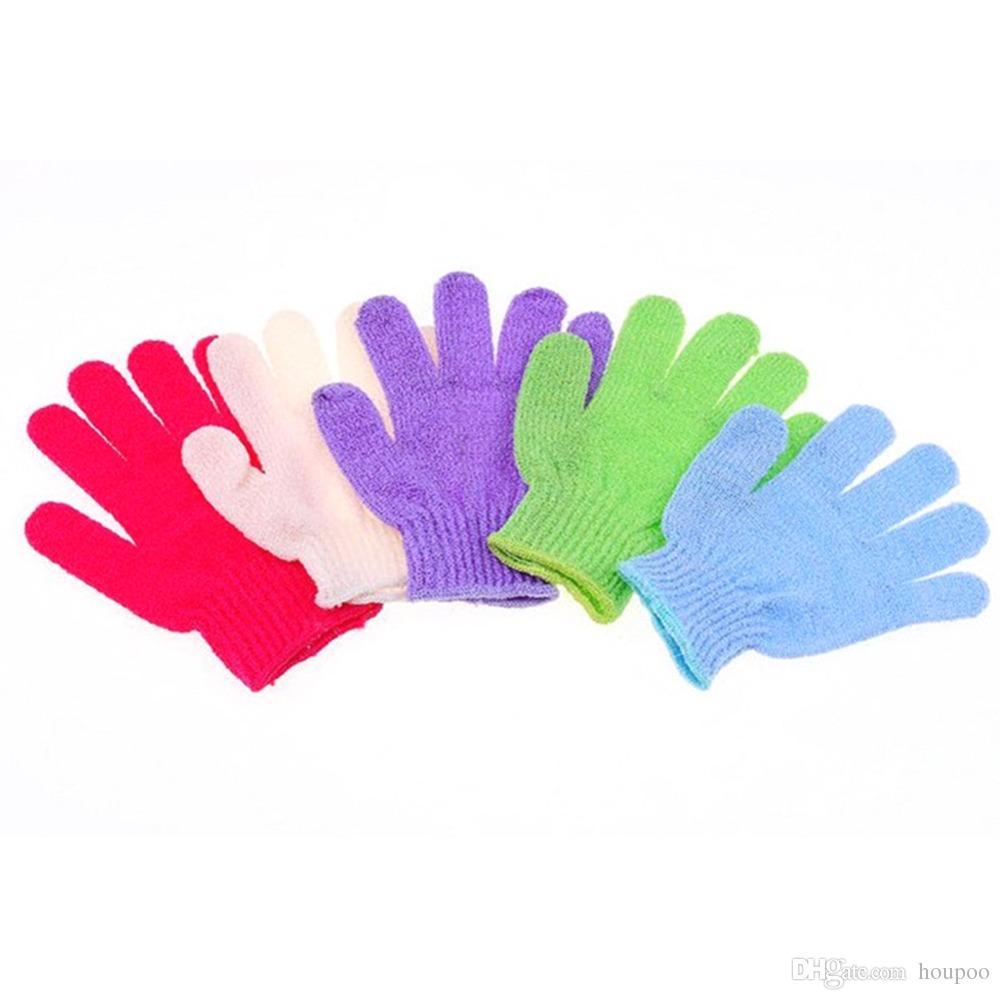 Practical 18*12cm Nylon Bath Shower Gloves 5 Colors Exfoliating Sponge Bath Skin Body Wash Massage Scrub Bathroom Accessories