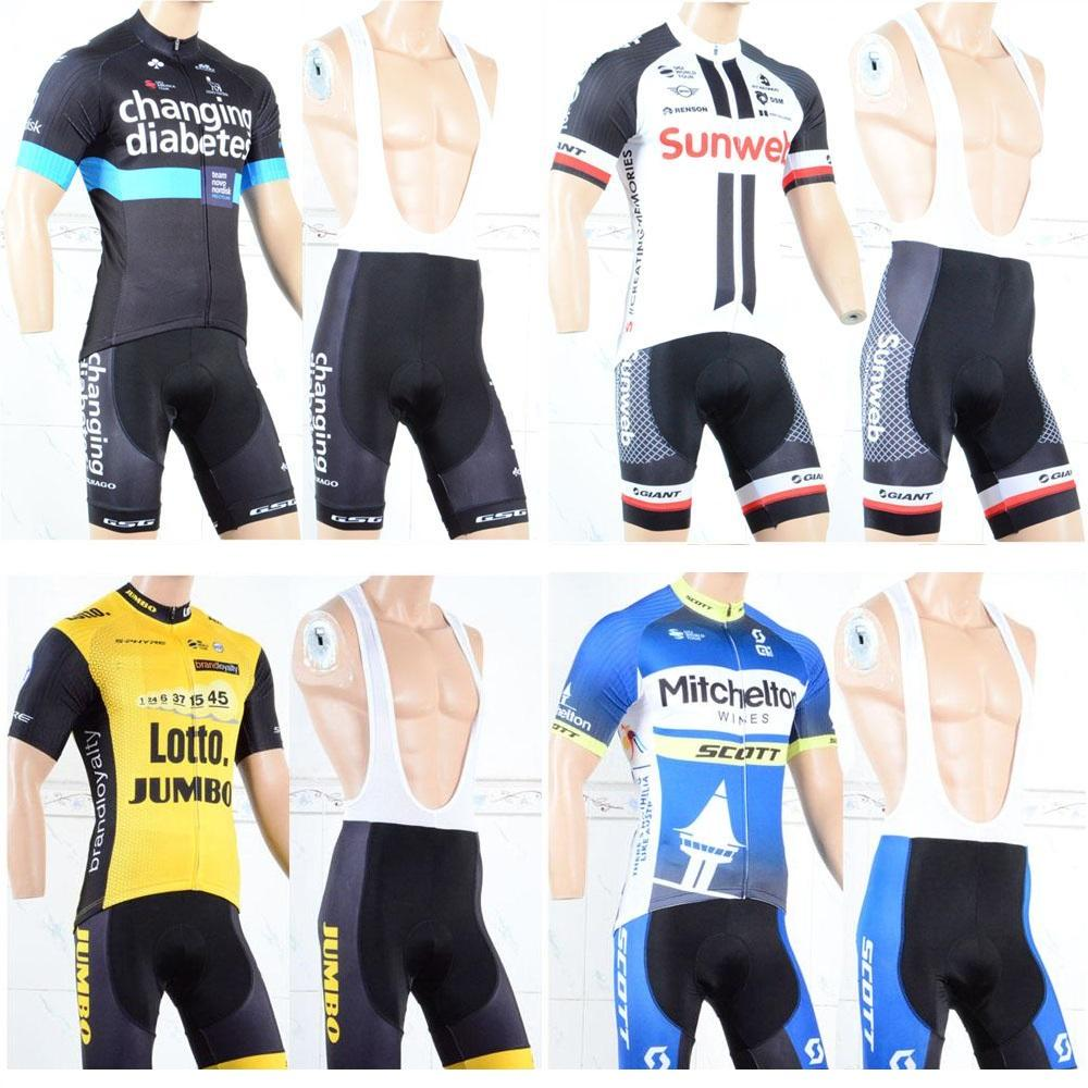 2018 Tour de France 사이클링 로또 SCOTT GIANT SUNWEB CHINGANG 새로운 팀 저지 턱받이 반바지 빠른 건조 자전거 자전거 의류