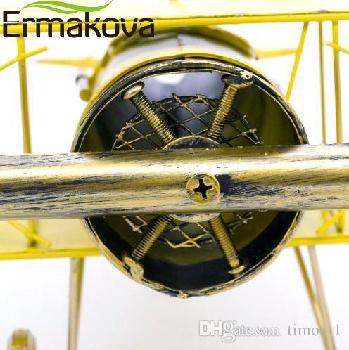 ERMAKOVA Metal Handmade Crafts Aircraft Model Airplane Model Biplane Home Decor Ornaments Furnishing Articles(Yellow Color)
