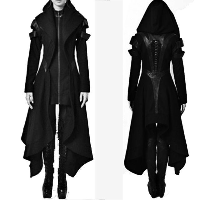 Женщины женские пальто 2021 осенние женщины готический старинный твердый с капюшоном с капюшоном с длинным рукавом нерегулярный пальто тонкий простой зима черное пальто женское