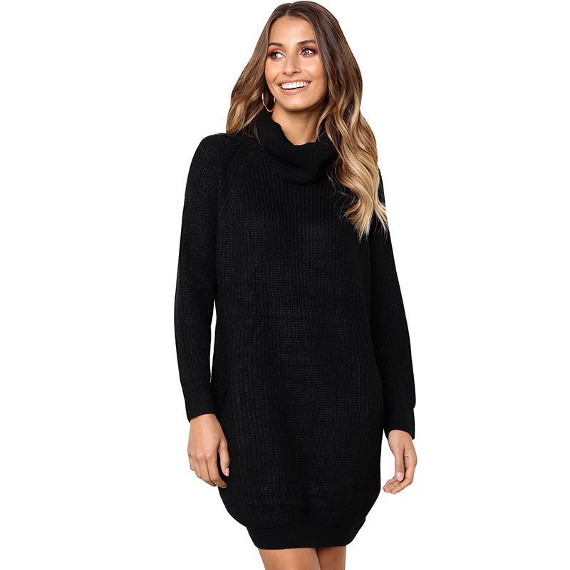 Женщины водолазка свитера трикотажные длинные топы с длинным рукавом ребристые твердые повседневная свободные теплый перемычка пуловер Женский трикотаж черный горячий