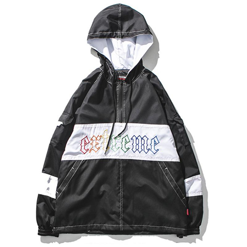 5336597b1 Color Block Patchwork Pullover Windbreaker Hoodie Jacket Men's 2018 Spring  Embroidery Half Zip Jackets Streetwear Coats W0317
