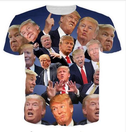 El más nuevo hombre de la moda / Womans Hip Hop Trump Verano Estilo divertido 3D Print tapas de la camiseta ocasional más ZGX064 Tamaño