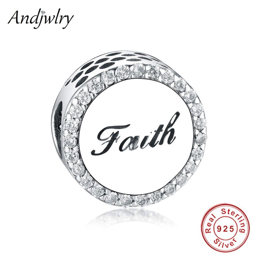 Fit Original Pandora Charm Armband Authentische 925 Sterling Silber Kreuz Brief Glauben CZ Kristall Perle Für Schmuck Machen Berloque