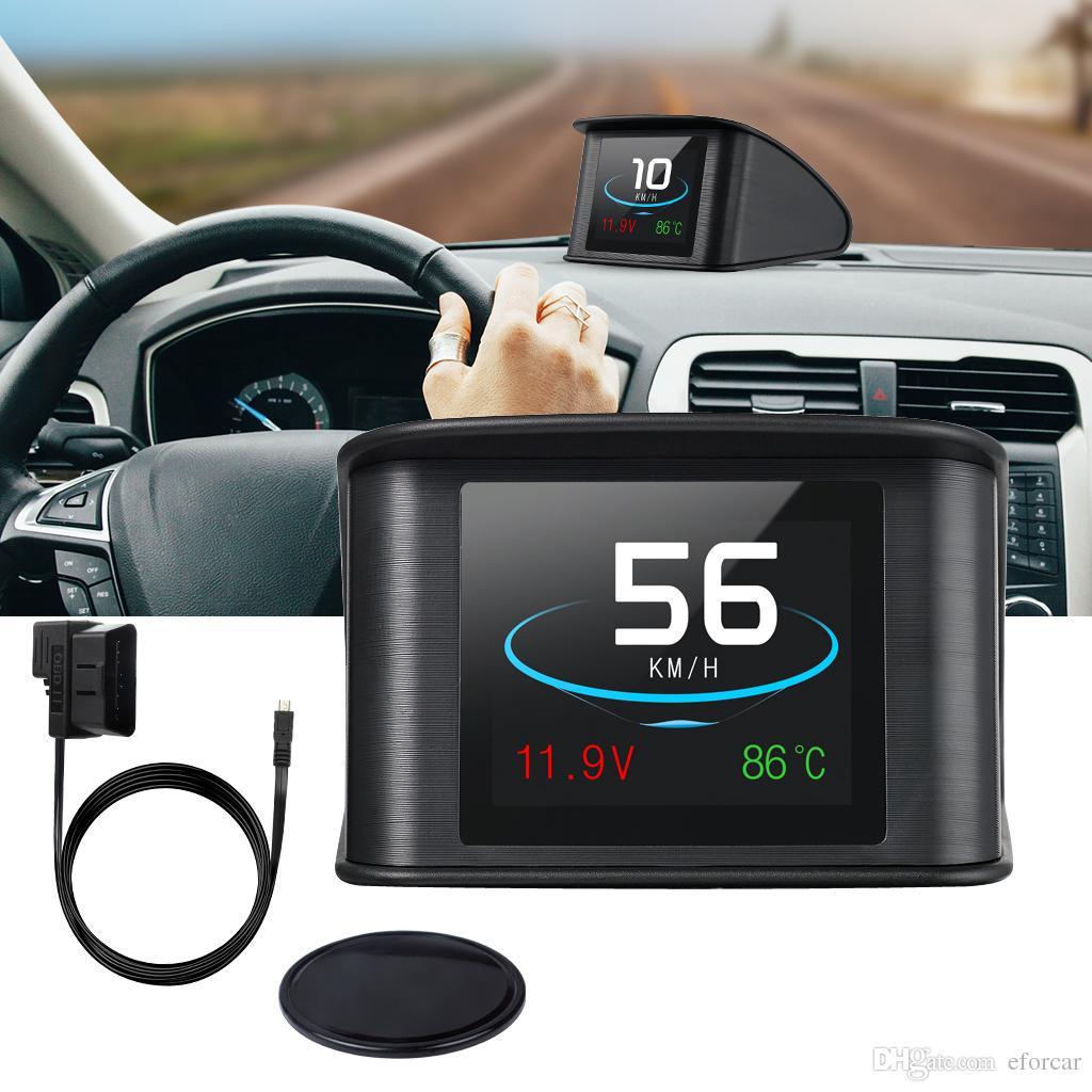 TFT-LCD Ekran Ile araba Kafa Kadar Ekran Gösterir Hata Kodu Için Hız RPM Gerilim Algılama Çok fonksiyonlu Araba HUD OBD2 EUOBD Ile Arabalar Için