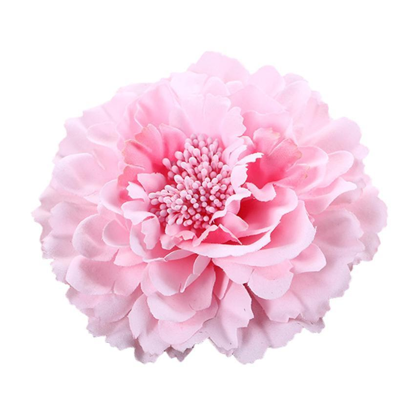 Hot Sale Beautiful Hair Clip Flower Peony New Hair Clips Wedding Bridal Bridesmaid Prom Festival Beige Pink Hairpin Brooch