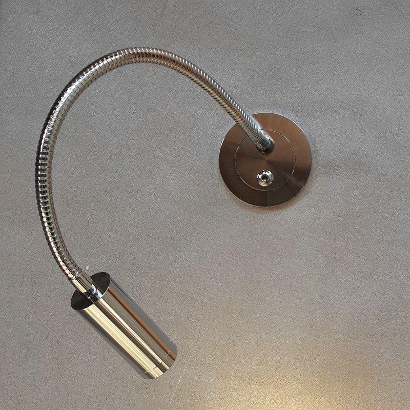 Nel corso Topoch Testata Light Reading incasso Slim Piastra braccio flessibile on / off 3W finitura cromata LED per l'hotel Residential Auto Yacht