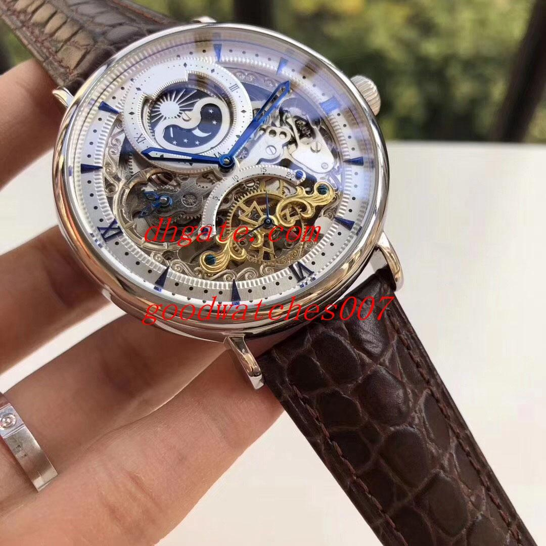 Top High Quality 43mm Skeleton Men Automatic Machinery Leather Strap Bandssports Watch Automatic Mens Watch Watches Buy Wrist Watches Online Watches