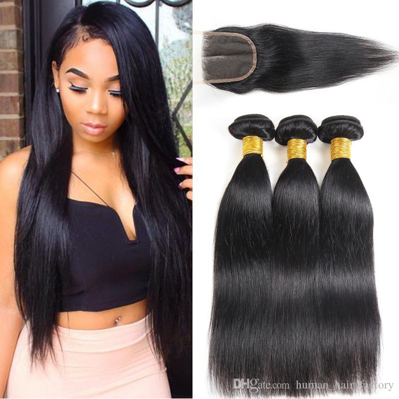 10A Mink Brazilian Straight Body Wave Unprocessed Brazilian Virgin Hair Bundles with Closures Brazilian Body Wave Straight Extensions