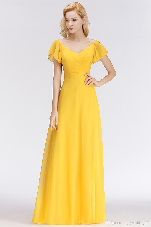 Compre Playa De Verano Amarillo Gasa Vestidos De Dama De Honor Largos Para Bodas En El Campo Una Línea De Cuello En V Pliegues Vestido De Invitados De